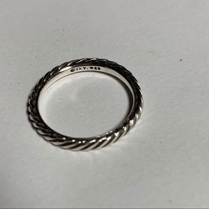 David Yurman 3mm sterling cable band ring size 7